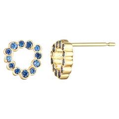 Single 14 Karat Yellow Gold Blue Sapphire Stud Earring