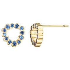 Single 14 Karat Yellow Gold Blue Sapphire Stud Earrings