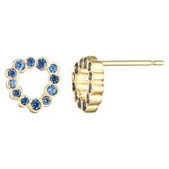 Single 14 Karat Yellow Gold Blue Sapphire Stud Earrings