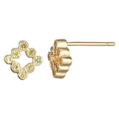 Single 14 Karat Yellow Gold with Yellow Sapphire Stud Earrings