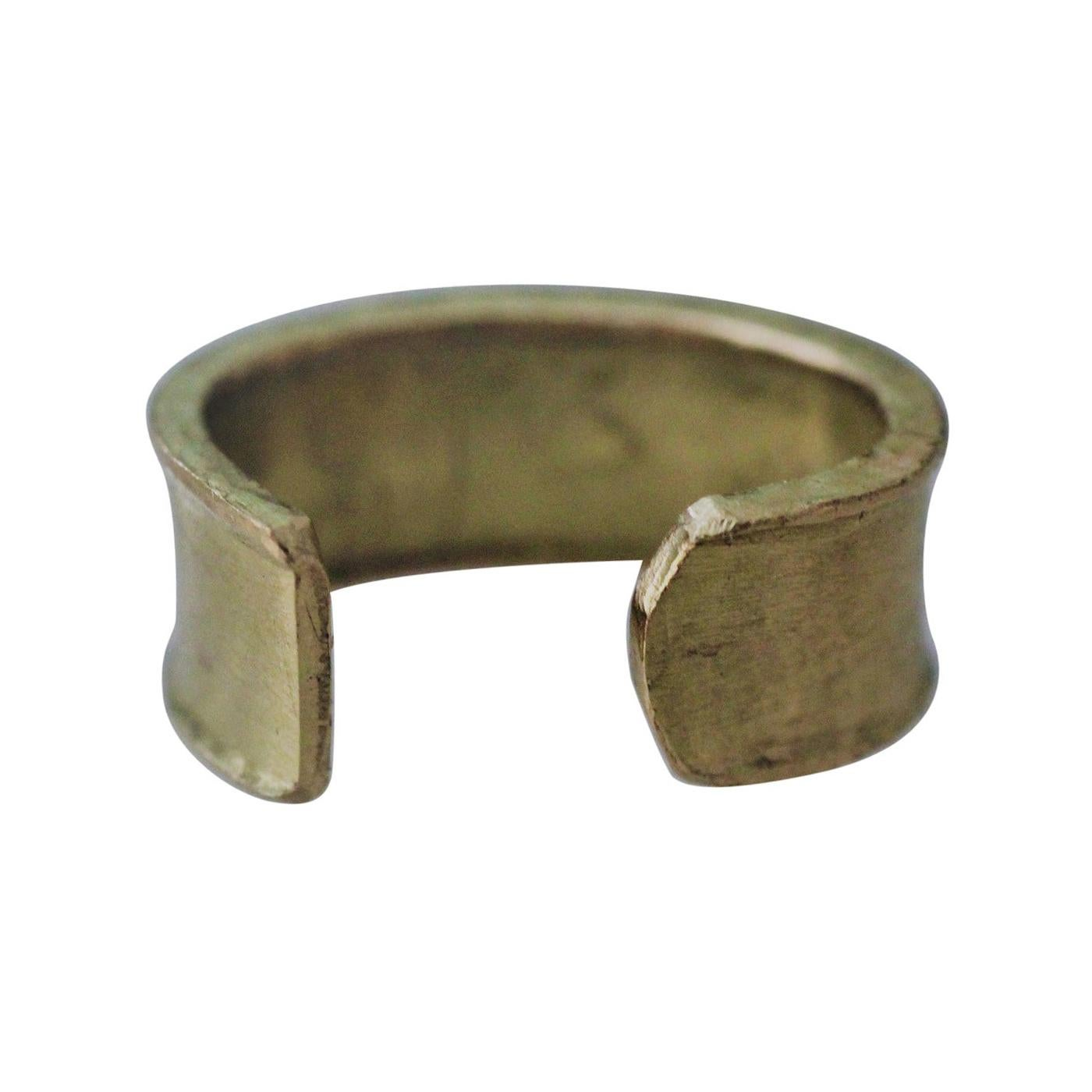 Single 18 Karat Gold Cuff Earring Clip-On Handmade Minimalist Modern Sculpture