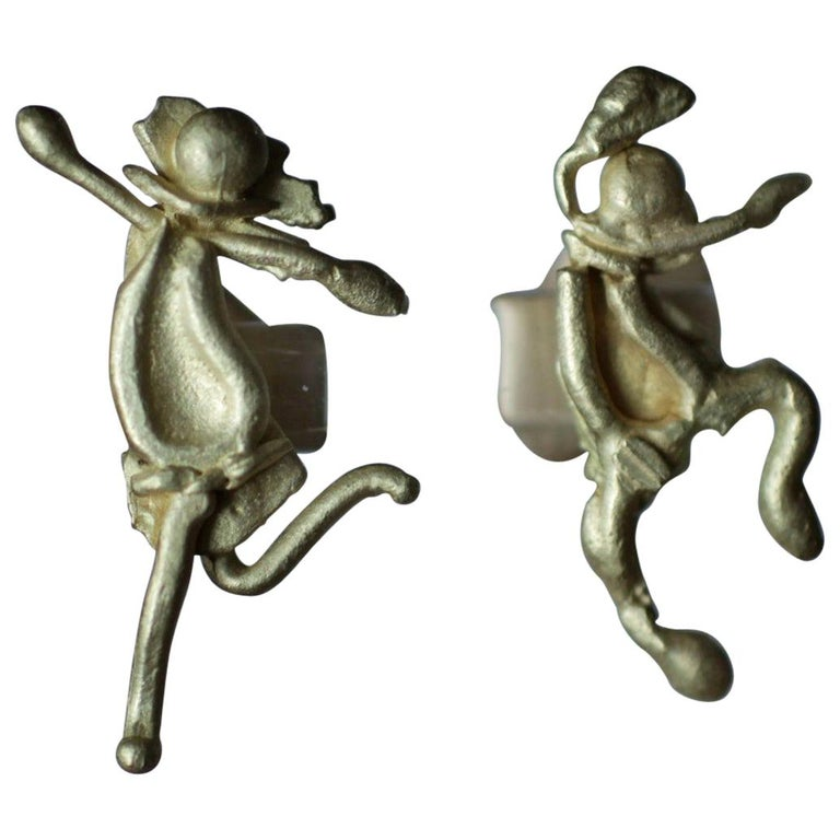DANCE. Whimsical, impressionist style figurine, minimalist stud earring in 18k Gold. Show your sense of humor with this comfortable sculpture earring while making a stylish statement. Unisex.  Process: These earrings are first hand fabricated in