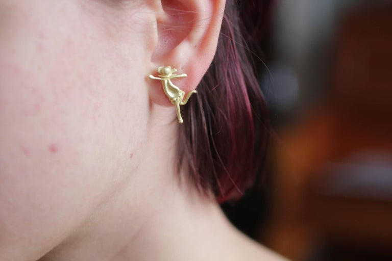 DANCE. Whimsical, impressionist style, feminine figurine, minimalist stud single earring in 18k Gold. Created for a modern woman. Show your sense of humor with this comfortable sculpture earring while making a stylish statement. Great for bridal or