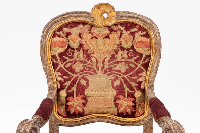Single 18th century Italian giltwood and painted armchair.