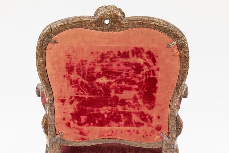 Single 18th Century Italian Giltwood Armchair For Sale 3