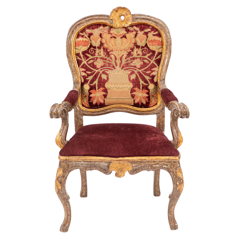 Single 18th Century Italian Giltwood Armchair