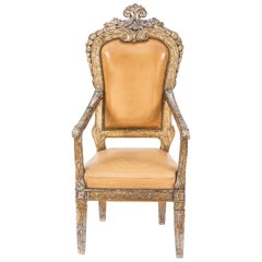 Single 18th Century Italian Silver Leaf Armchair
