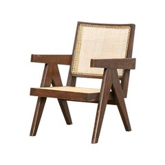 Single 1950s Brown Wooden Teak and Cane Lounge Chair by Pierre Jeanneret