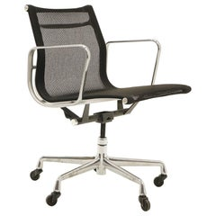 Single Aluminum Group Desk Chair, Black Mesh, by Charles and Ray Eames