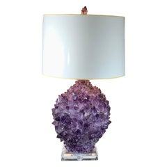 Single Amethyst Rock Crystal Table Lamp