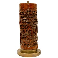 Single Antique Carved Chinese Wood Table Lamp