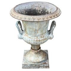 Single Antique English Cast Iron Garden Urn, Stamped Spicer & Peckham, 1887