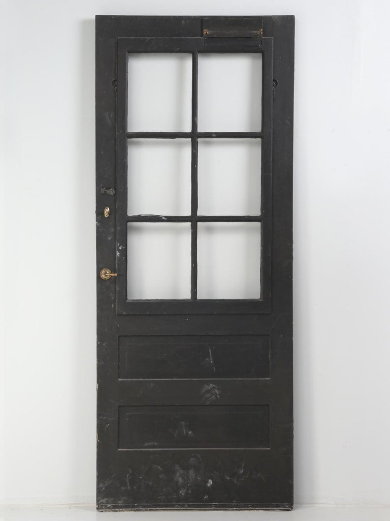 Single Antique French Painted Door with Original Hardware For Sale 4