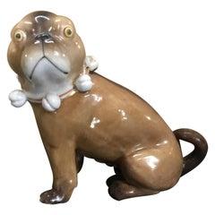 Single Antique German Porcelain Seated Pug Dog
