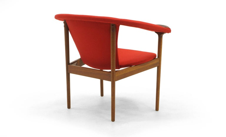 American Single Arm Lounge Chair by Adrian Pearsall, Expertly Restored, Red Knoll Fabric