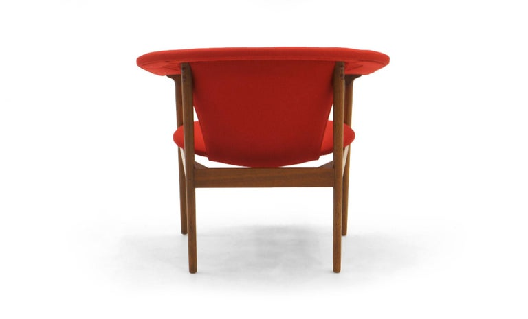 Single Arm Lounge Chair by Adrian Pearsall, Expertly Restored, Red Knoll Fabric In Excellent Condition In Kansas City, MO