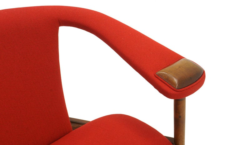Mid-20th Century Single Arm Lounge Chair by Adrian Pearsall, Expertly Restored, Red Knoll Fabric
