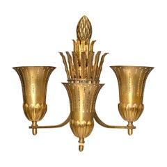 Single Art Deco Brass Sconce