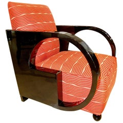 Art Deco Club Chair, Black Lacquer and Red Fabric, France circa 1930
