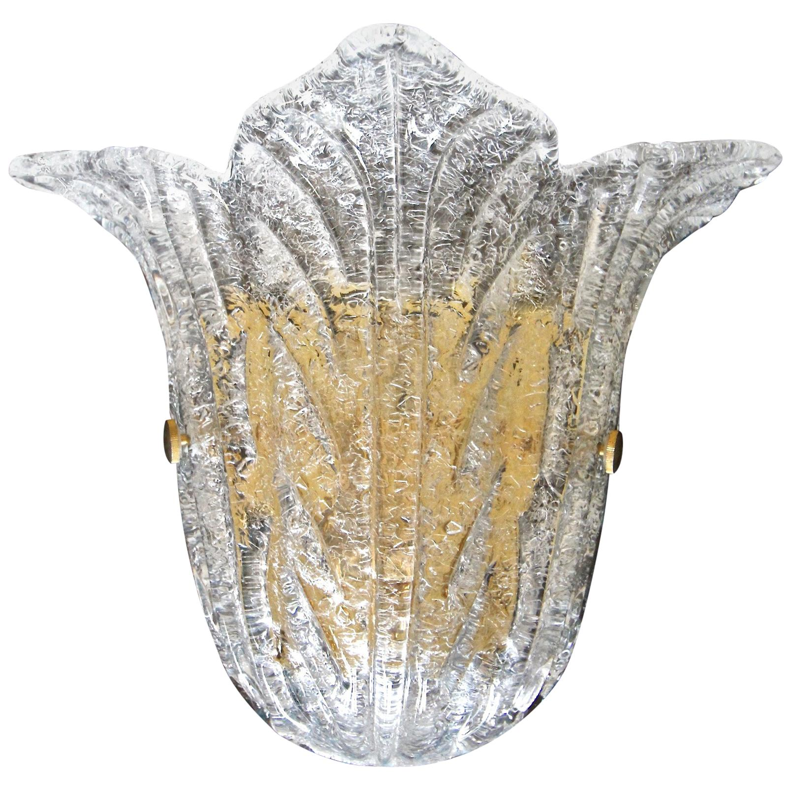"Single Barovier Murano Glass Clear ""Rugiadoso"" Leaf Wall Sconce"