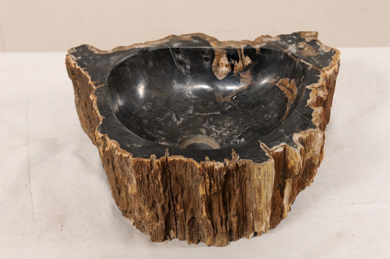 Single Black And Brown Polished Petrified Wood Sink Wash Basin