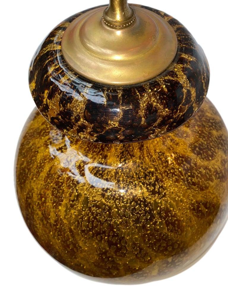 Italian Single Blown Amber Glass Lamp For Sale
