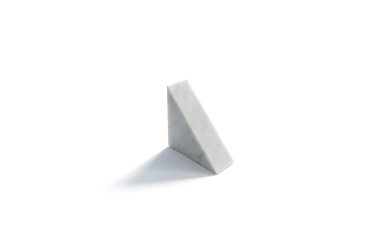 Italian Single Big Bookend in White Carrara Marble with Triangular Shape For Sale