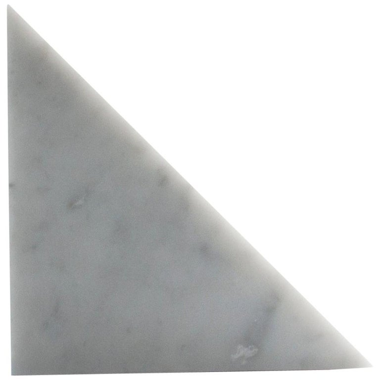 Single Big Bookend in White Carrara Marble with Triangular Shape For Sale