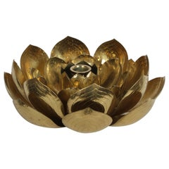 Single Brass Lotus Flower Candleholder