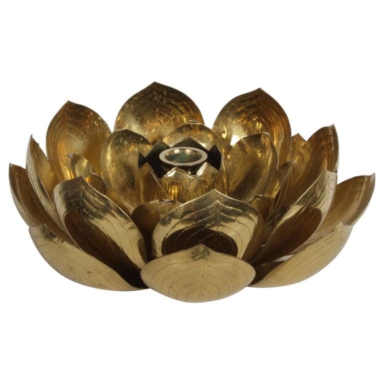 Single Brass Lotus Flower Candleholder For Sale