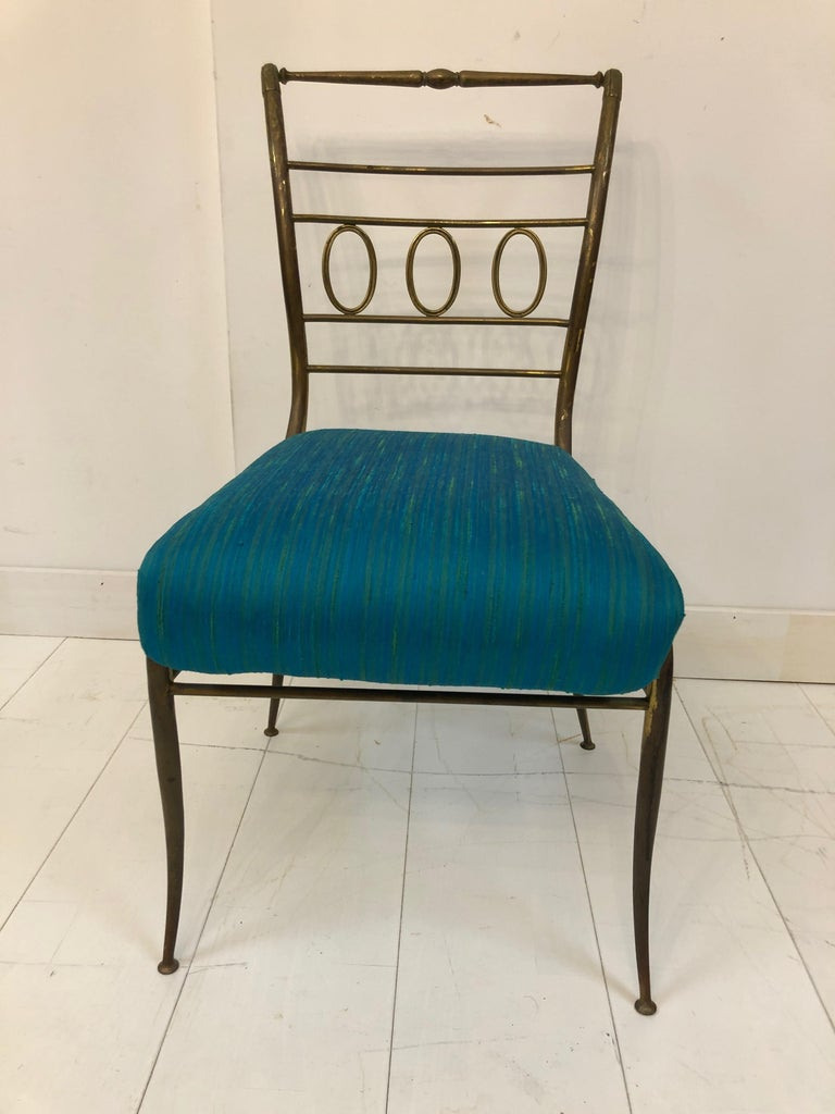 Italian Single Brass Occasional Chair For Sale