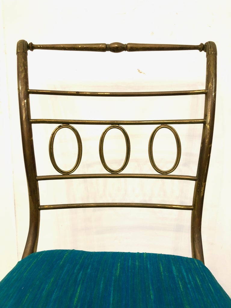 Single Brass Occasional Chair In Good Condition For Sale In Hudson, NY