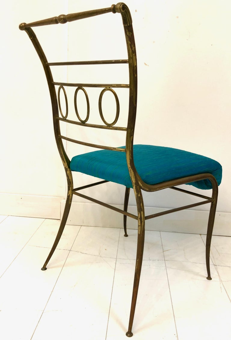 Single Brass Occasional Chair For Sale 4