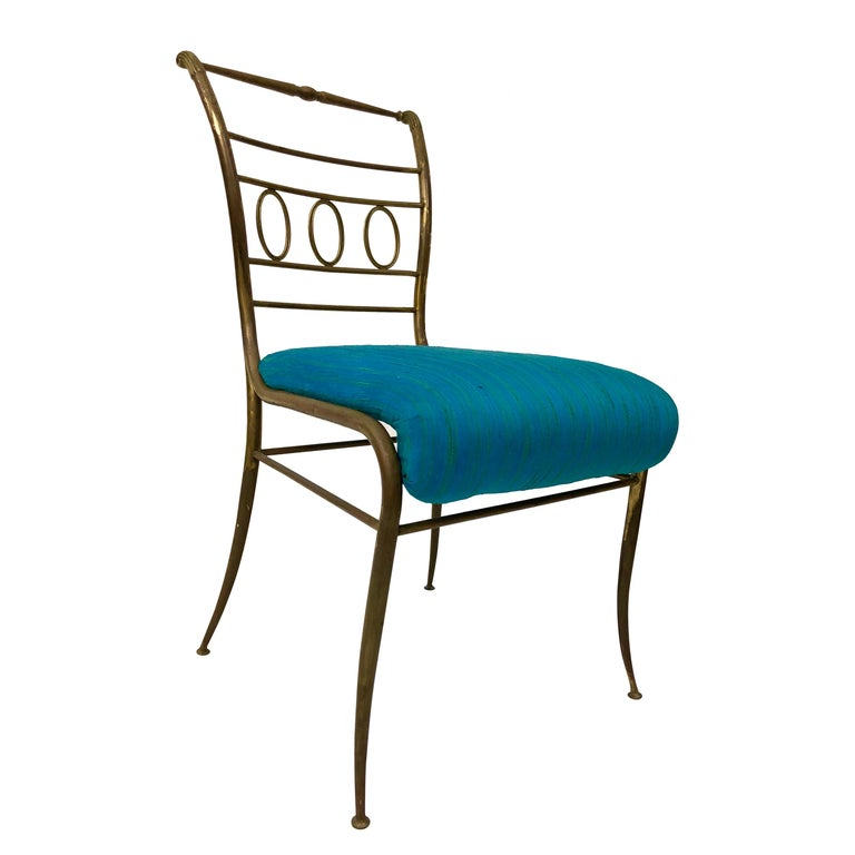 Single Brass Occasional Chair For Sale