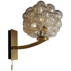 Single Bubble Glass and Brass Wall Sconce by H.Tynell for Limburg, circa 1960s
