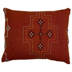 Single Cactus Silk Red Pillow