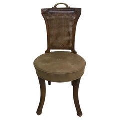 Single Cane Back Desk Chair with Brown Leather Seat