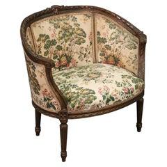 Single Carved Walnut 1890s Era French Louis XVI Bergère Vanity Boudoir Chair