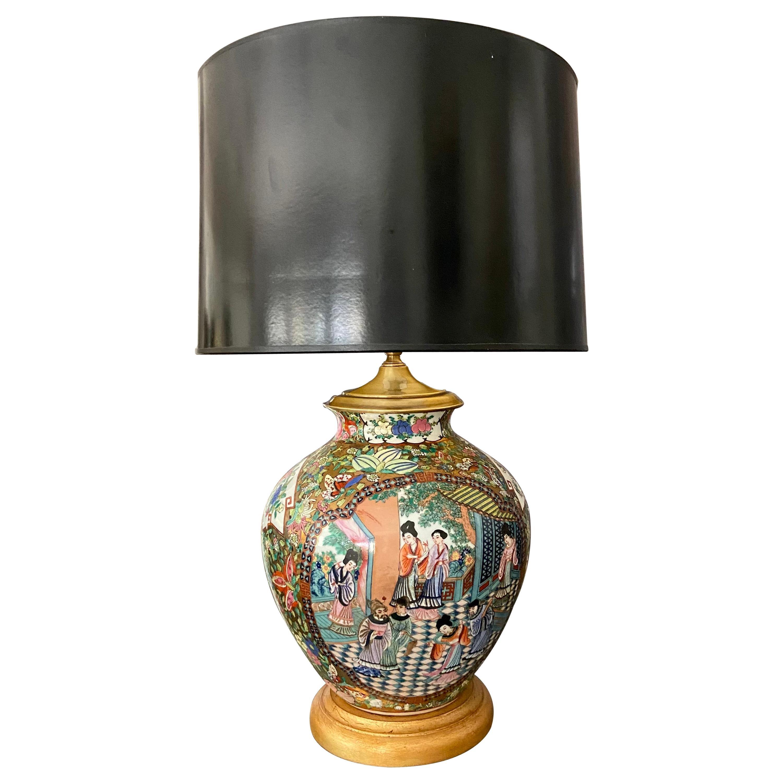 Single Chinese Asian Famille Rose Porcelain Vase Table Lamp