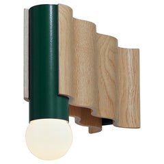Single Corrugation Sconce or Wall Light in Natural Ash Veneer and Moss Green