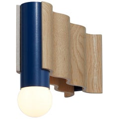 Single Corrugation Sconce or Wall Light in Natural Ash Veneer and Sapphire Blue