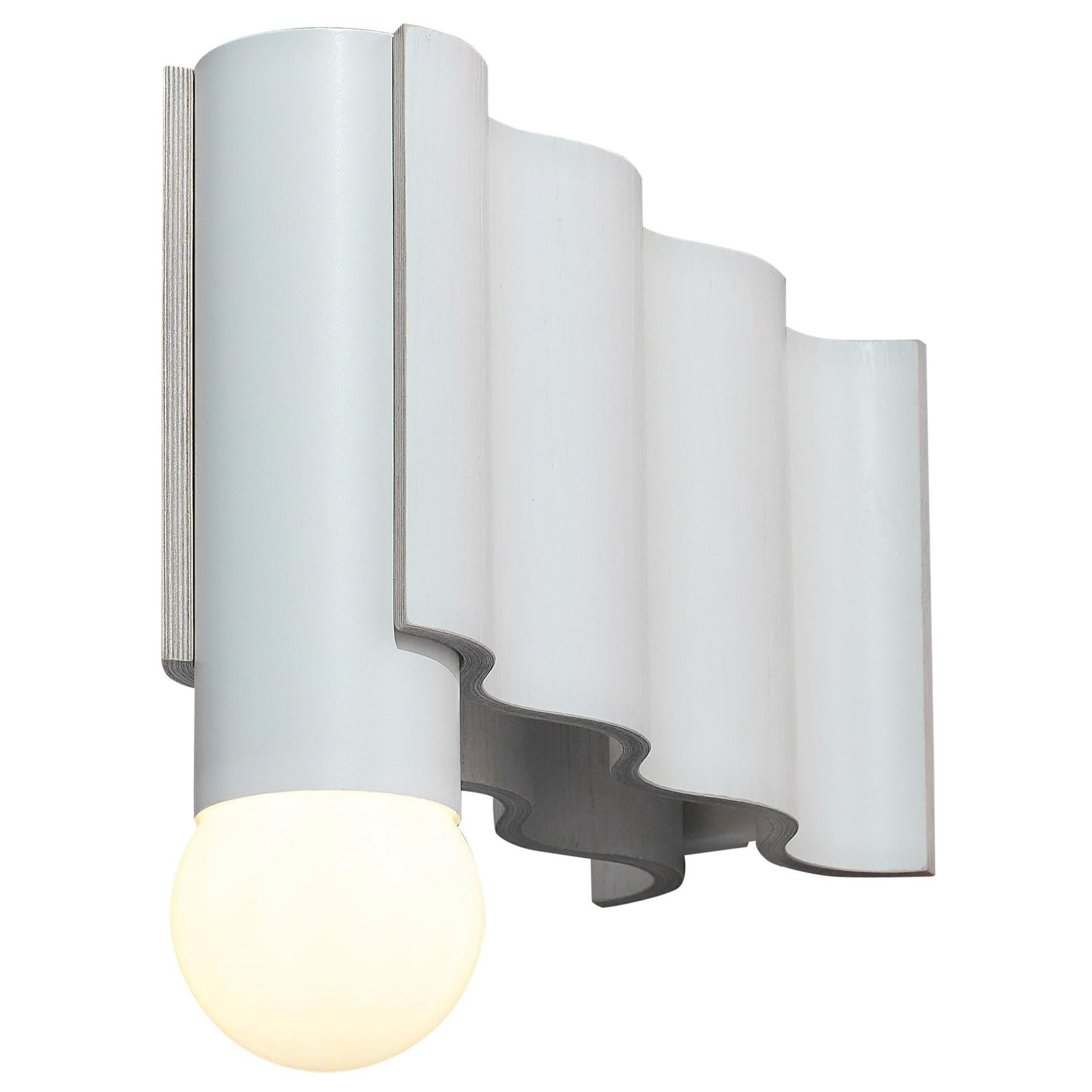 Single Corrugation Sconce / Wall Light in Off-White