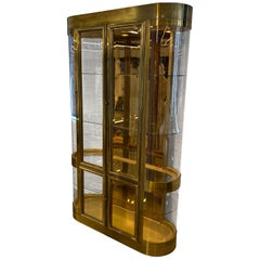 Single Curved End Mastercraft Brass Vitrine Display Cabinet