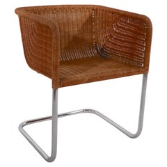 Single D43 Wicker and Chrome Chair by Fabricus and Kastholm for Harvey Probber