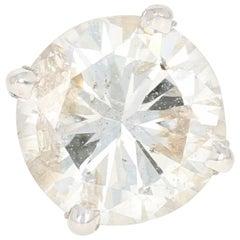 Single Diamond Stud Earring, 14 Karat White Gold Pierced Round Cut 1.03 Carat