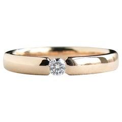Single Diamond Wedding Band, 14k Solid Yellow Gold Band, 0.1 Carat Diamond