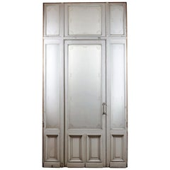 Single Door Etched Glass Panel Frame Fanlight, 20th Century