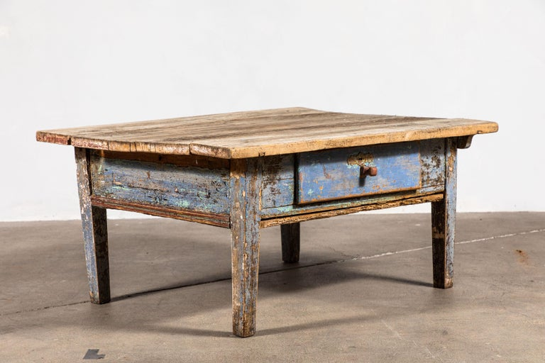 Single Drawer Rustic Coffee Table For Sale at 1stdibs