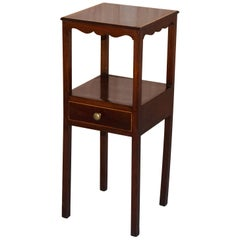 Single Drawer Victorian Jardinière Side Table in Mahogany Inlay Lamp Wine End
