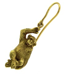 Single Earring Monkey in 18 Karat Yellow Gold